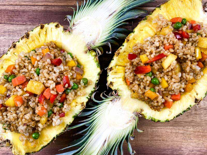 pineapple fried rice inside a pineapple