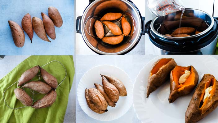 collage of cooking instructions for instant pot sweet potatoes
