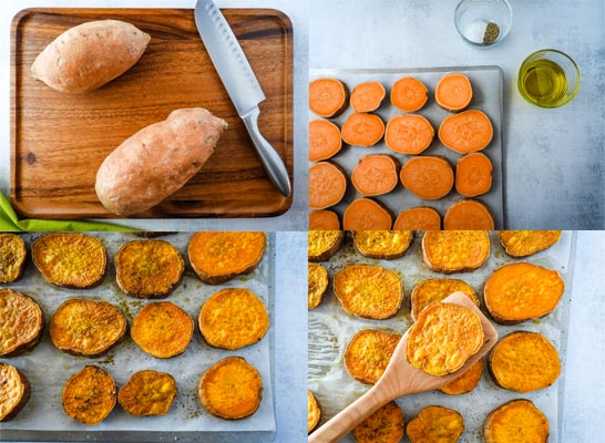 collage photo of how to make sweet potatoes