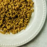 close up of ground turkey on a white plate