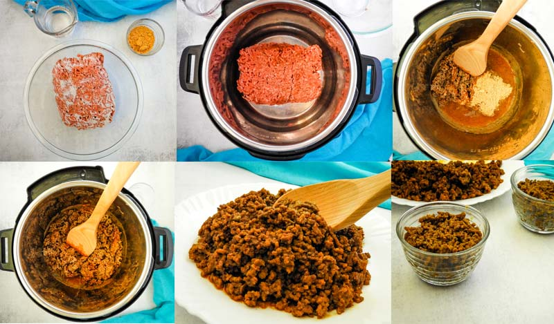 collage of how to cook ground beef in the Instant POt