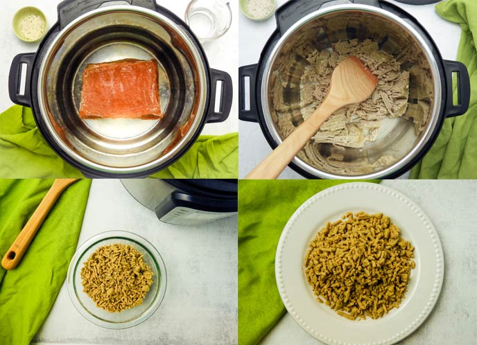 collage showing steps for cooking frozen ground turkey in an electric pressure cooker