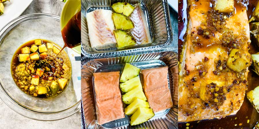 collage showing how to make this salmon