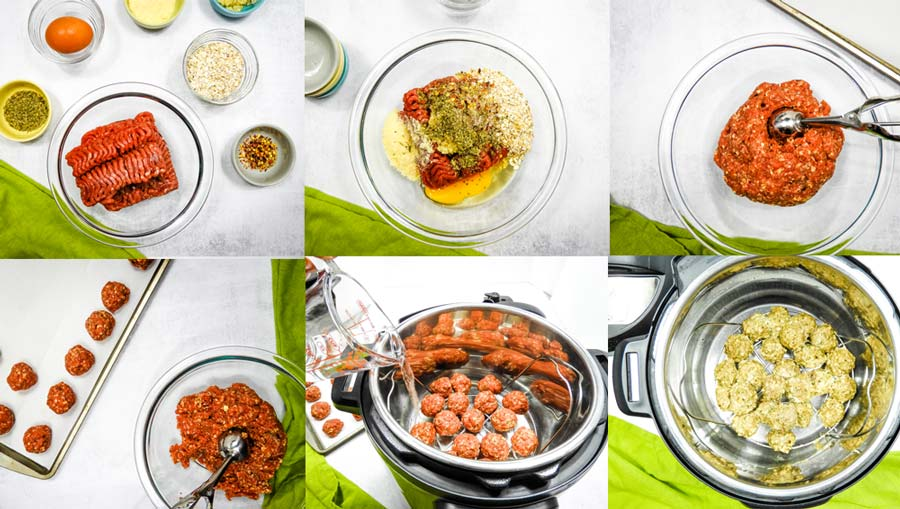 collage of steps to make instant pot meatballs