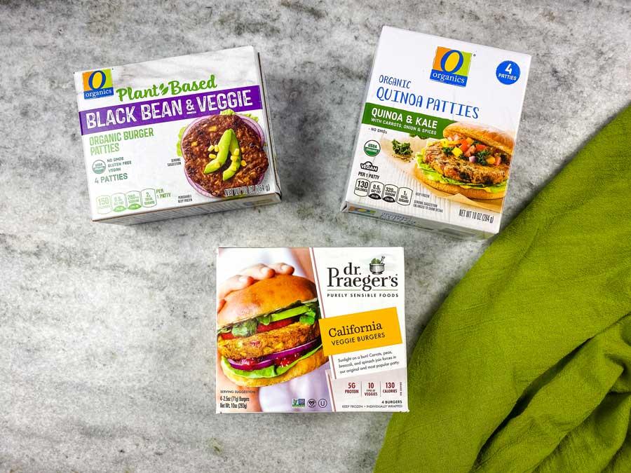 three types of veggie burgers on counter