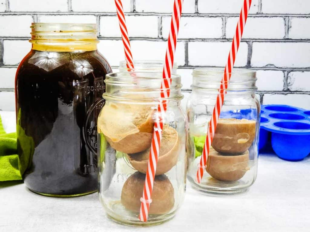 mason jars with frozen coffee creamer cubes