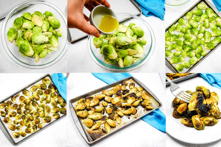 collage of roasted brussles sprouts in process