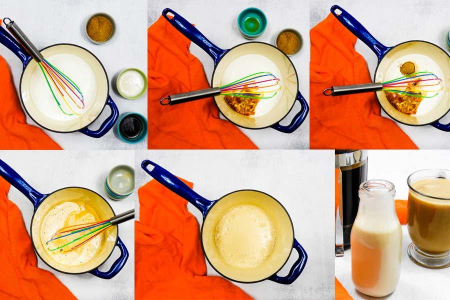 collage of steps to make vegan coffee creamer