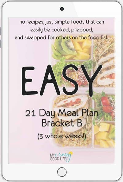 cover of 21 day meal plan B, easy meal plan