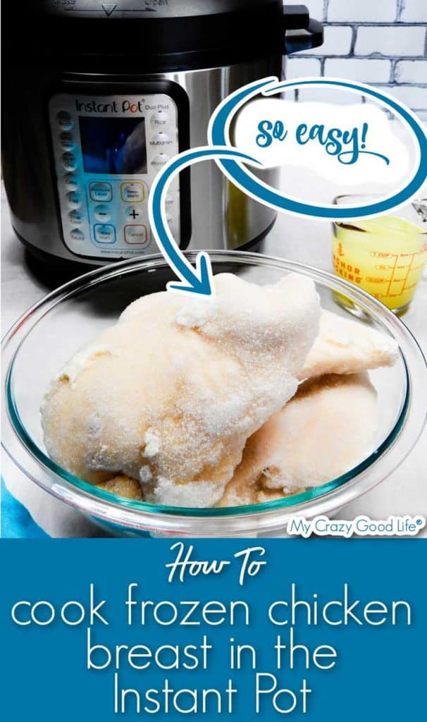image of frozen chicken with instant pot in back