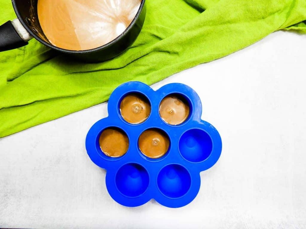 coffee creamer cubes being frozen