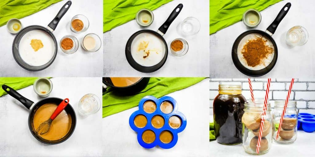 collage of photos showing how to make coffee creamer with almond milk