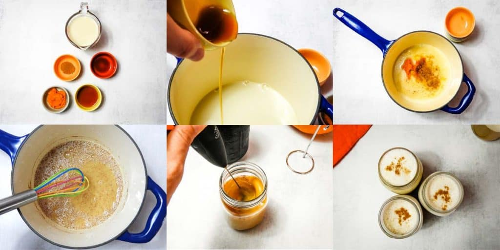 collage of steps to make pumpkin cold foam