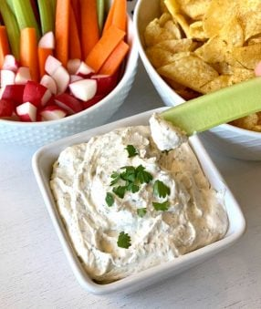 celery dipping into dairy free ranch dip